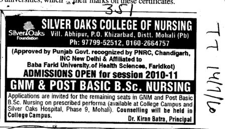 GNM and Post Basic BSc Nursing (Silver Oaks College of Nursing)