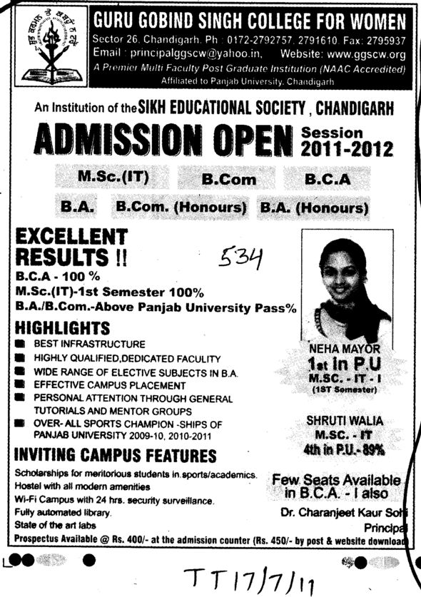 BCom BCA BA and MSc IT etc (Guru Gobind Singh College for Women Sector 26)