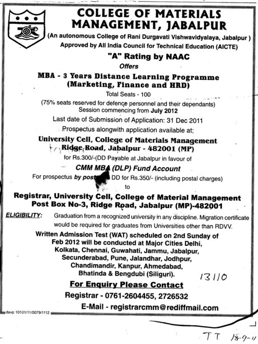 MBA in Marketing Finance and HRD etc (College of Material Management (CMM))
