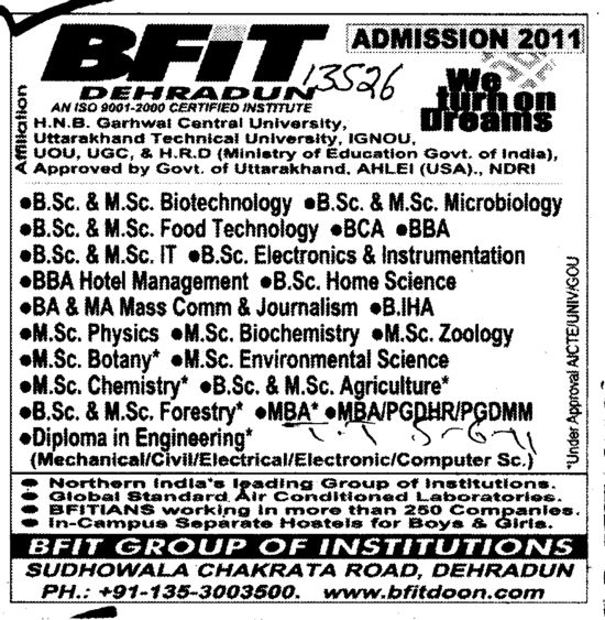 BSc MSc BBA BA and MBA etc (Baba Farid Institute of Technology (BFIT))