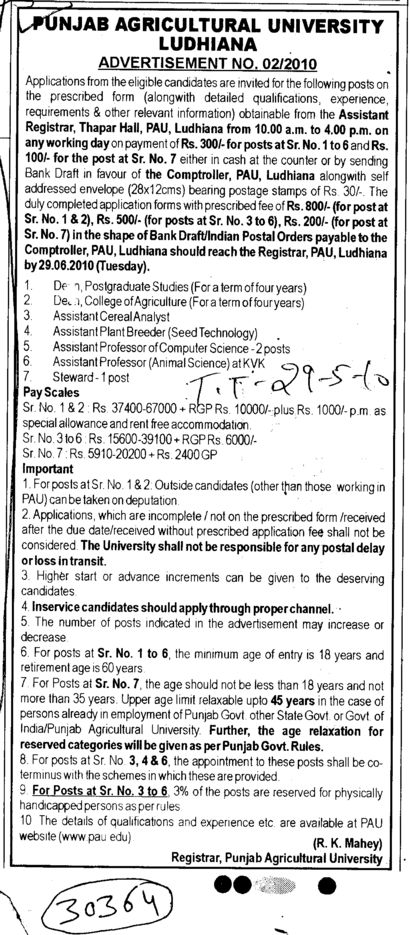 Assistant Proffessor of Computer Science and Sleward etc (Punjab Agricultural University PAU)
