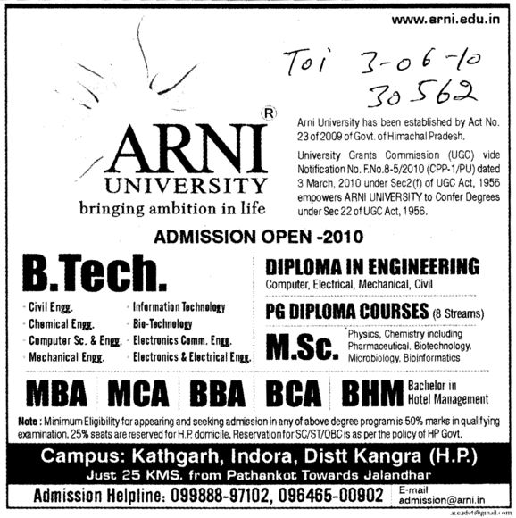 BTech MBA MCA BBA and BCA etc (Arni University Kathgarh)