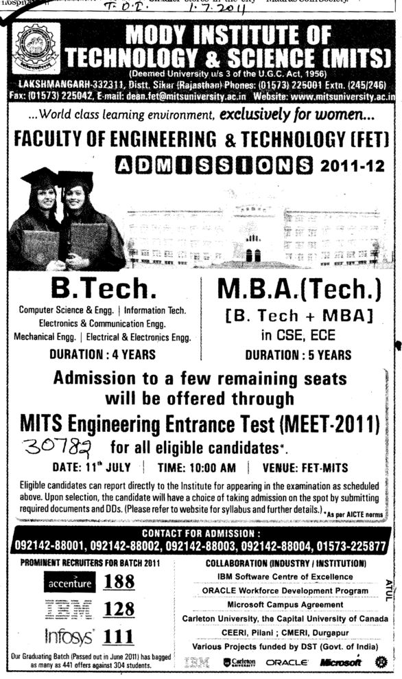 BTech and MBA Courses (Modi University of Science and Technology (MITS))