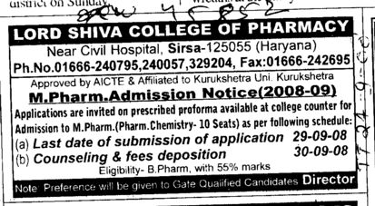 M Pharm 2008 2009 (Lord Shiva College of Pharmacy)