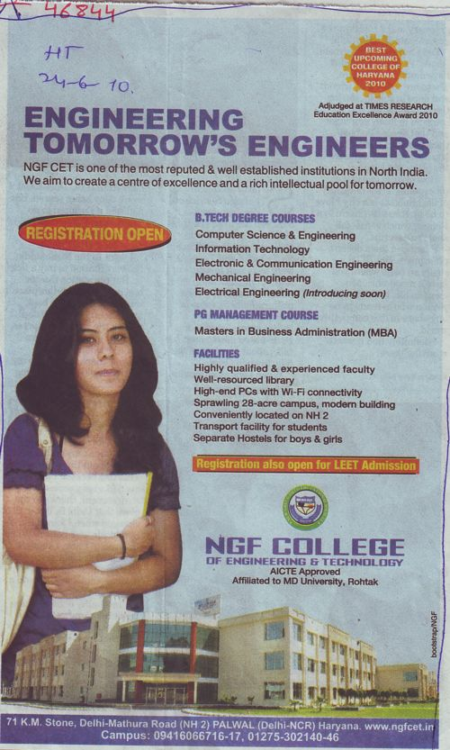 BTech and PG Management Course (NGF College of Engineering and Technology (NGFCET) Aurangabad)