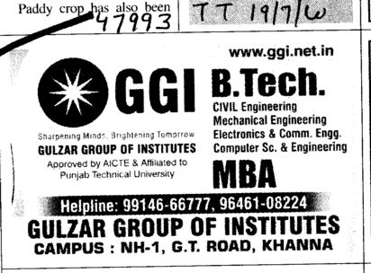 BTech and MBA Courses (Gulzar Group of Instituties Khanna)