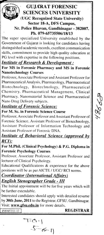 M Phill PG Diploma and MS in Forensic Pharmacy etc (Gujarat Forensic Sciences University)