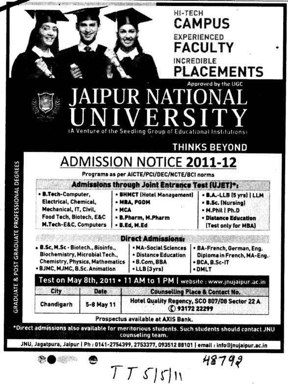 BTech MBA MCA and PGDM etc (Jaipur National University)