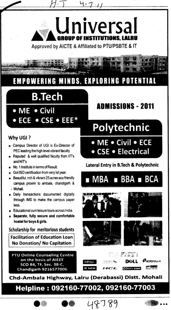 BTech MBA BBA and BCA etc (Universal Group of Institutions)