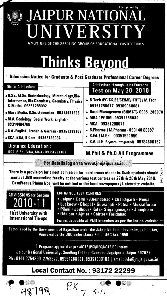 BSc MSc BBA BCA and MBA etc (Jaipur National University)