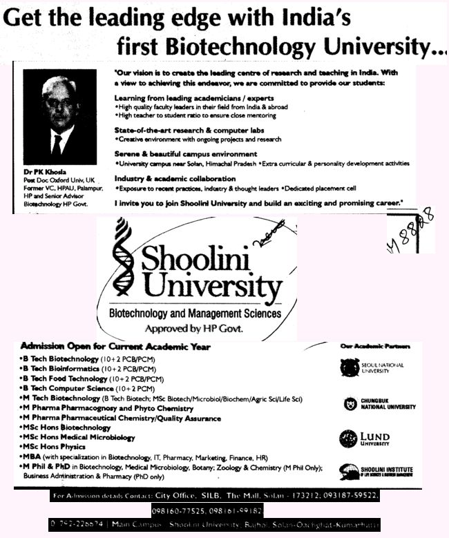 BTech MTech MBA and M Phill Courses etc (Shoolini University)