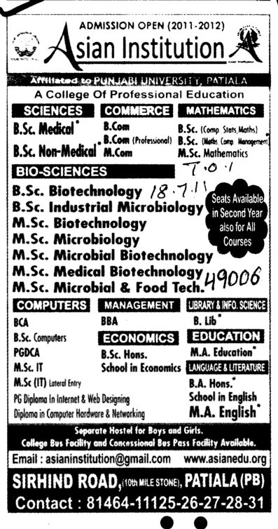 BSc in Biotechnology BCA BBA and MSc IT etc (Asian Institution)