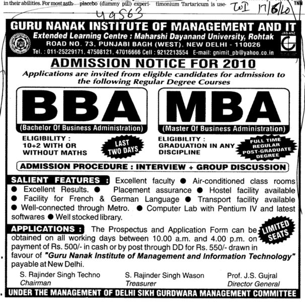 BBA and MBA Courses (Guru Nanak Institute of Management and Information Technology)