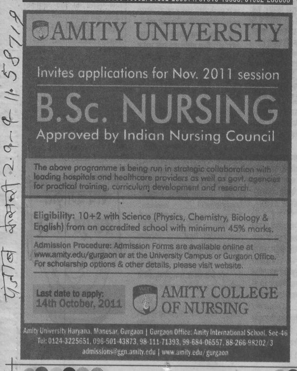 BSc Nursing (Amity University Manesar)