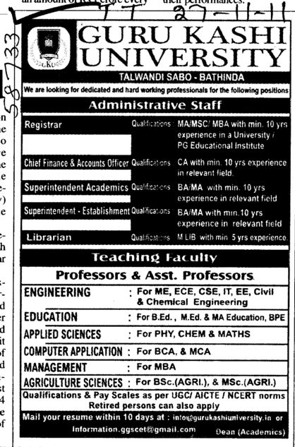 Proffessor and Assistant proffessor etc (Guru Kashi University)