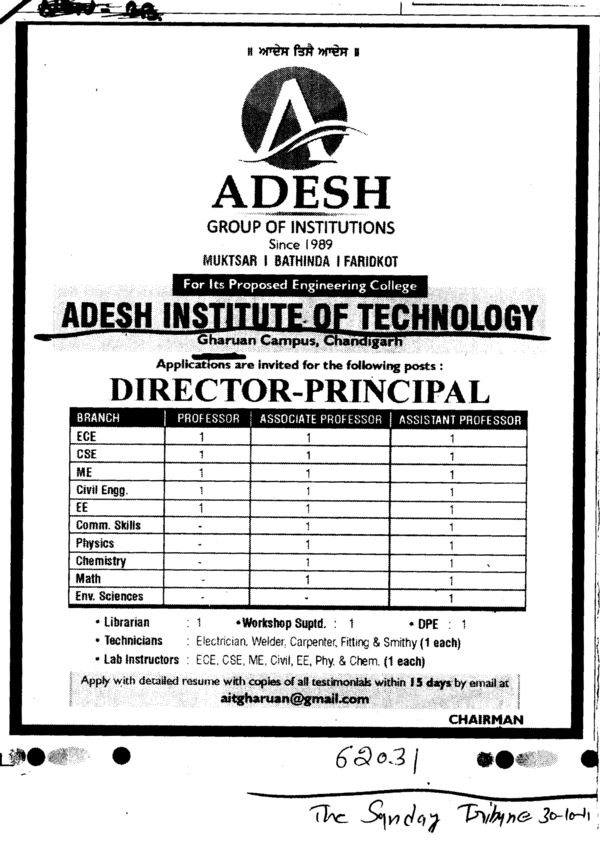 Director and Principal required (Adesh Institute of Technology)
