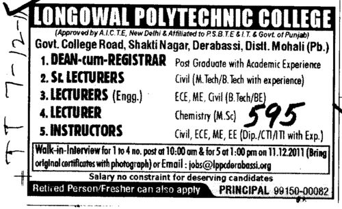 Lecturers Instructors and Sr Lecturers etc (Longowal College of Pharmacy and Polytechnic)