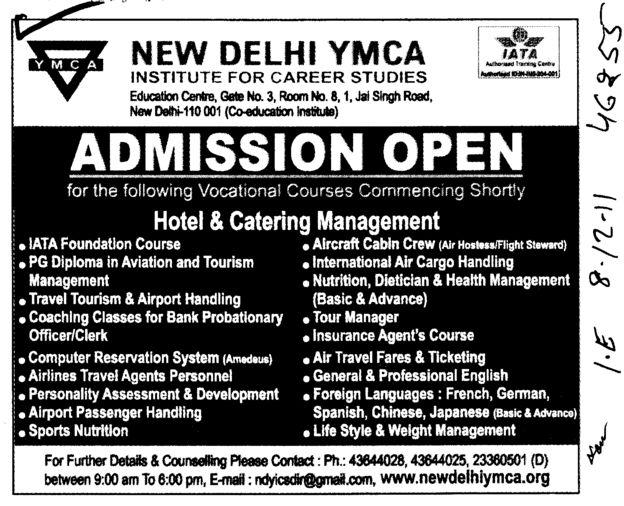 Hotel and Catering Management (ND YMCA Institute Of Management)