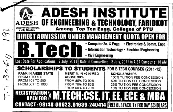 BTech in CSE ECE and ME etc (Adesh Institute of Engineering and Technology (AIET))