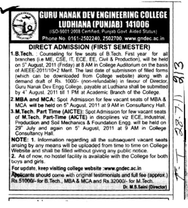 BTech MTech MBA and MCA Courses (Guru Nanak Dev Engineering College (GNDEC))
