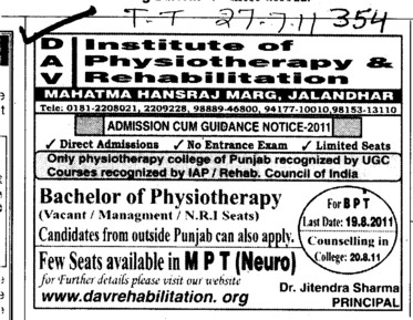 Bachelor of Physiotherapy (DAV Institute of Physiotherapy and Rehabilitation)