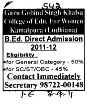 BEd Course (Guru Gobind Singh Khalsa College for Women)