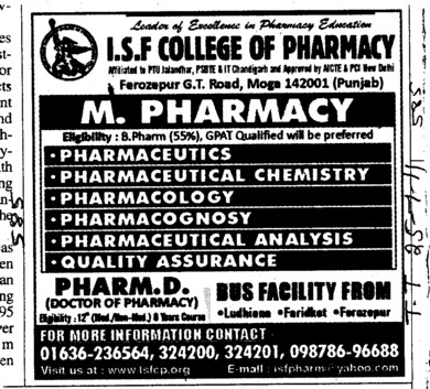 M Pharmacy and B Pharmacy Courses (ISF College of Pharmacy)
