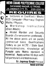 LEcturers Instructors and Wardens etc (Mehr Chand Polytechnic College)