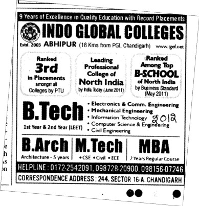BTech B Arch and MBA etc (Indo Global Group of Colleges)
