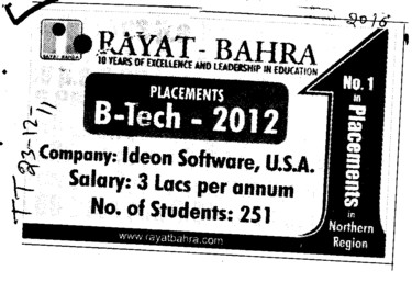 BTech in all Trades (Rayat and Bahra Group)