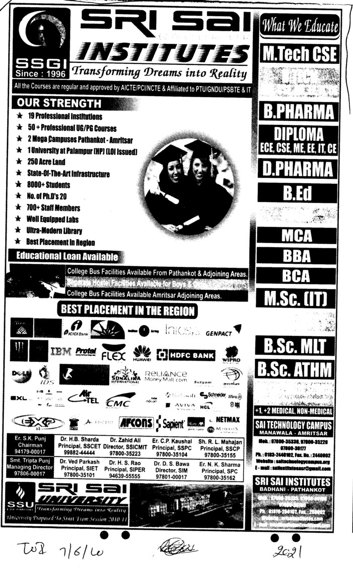 MCA BBA BCA MSc IT etc (Sri Sai Group of Instituties (SSGI))