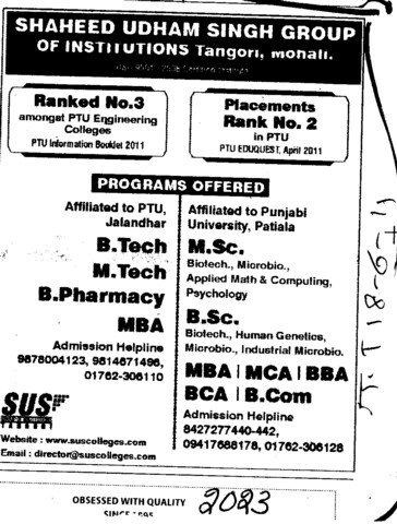 BTech MTech MSc and BSc etc (SUS Group of Institutions)