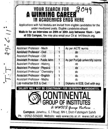 Assistant Proffessor for Mech Civil and Physics etc (Continental Group Institute Jalvehra)