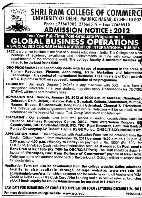 Post Graduate Programme in Global Business Operations (Shri Ram College of Commerce)