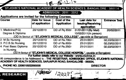 PG MSc Nursing and Post Basic Diploma in Nursing etc (St Johns Medical College)
