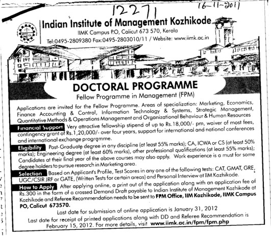 Doctoral Programme (Indian Institute of Management (IIM-Calicut))