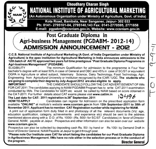 Post Graduate in Agri business Management (National Institute of Agricultural Marketing (NIAM))