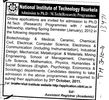 PhD and MTech Courses (National Institute of Technology (NIT))