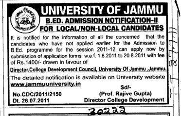 BEd Course (Jammu University)