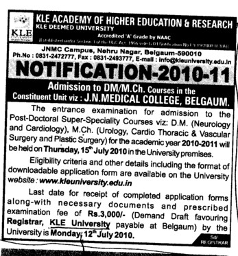 DM MCh courses (KLE University)