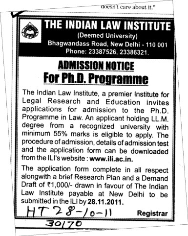 PhD Programmes (Indian Law Institute)