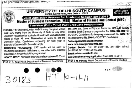 Master in Business Economics (Delhi University)