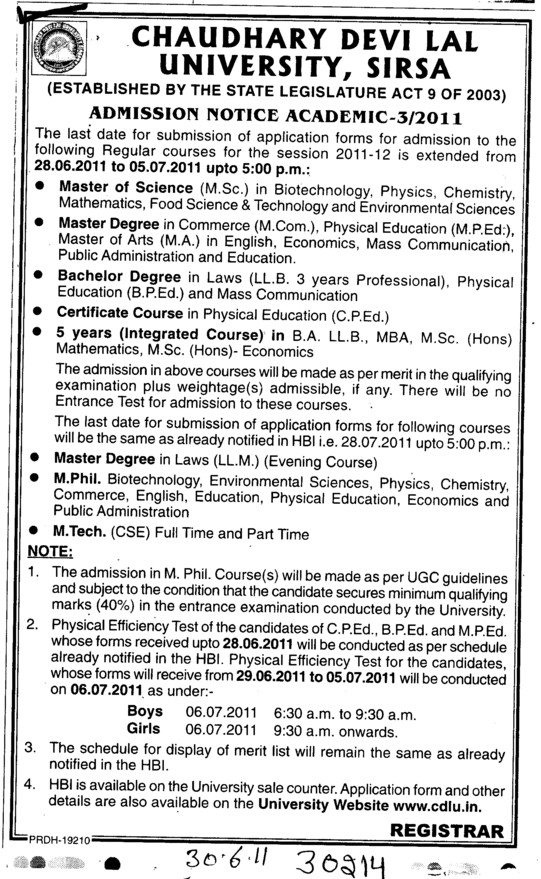 Master of Science M Phill and MTech Courses etc (Chaudhary Devi Lal University CDLU)