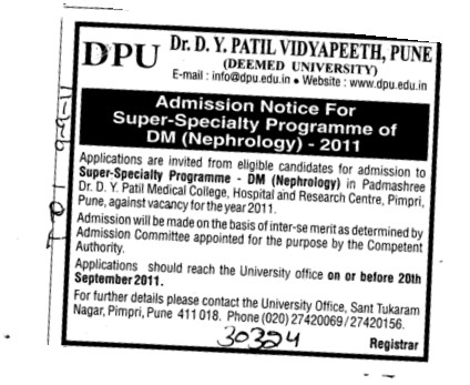Super Specialty Programme of DM Nephrology (Dr DY Patil University)
