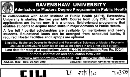 Master Degree Programme in Public Health (Ravenshaw University)