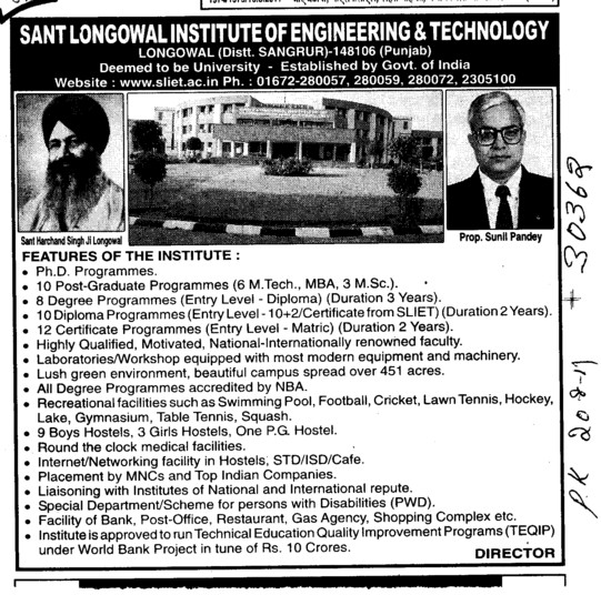 PhD Programme (Sant Longowal Institute of Engineering and Technology SLIET)