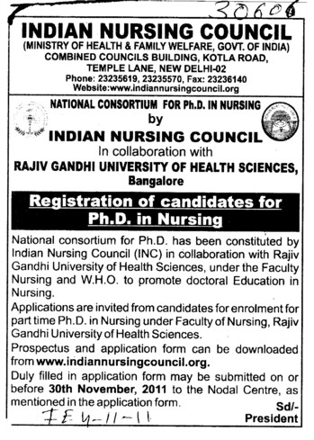 PHD in Nursing (Indian Nursing Council (INC))