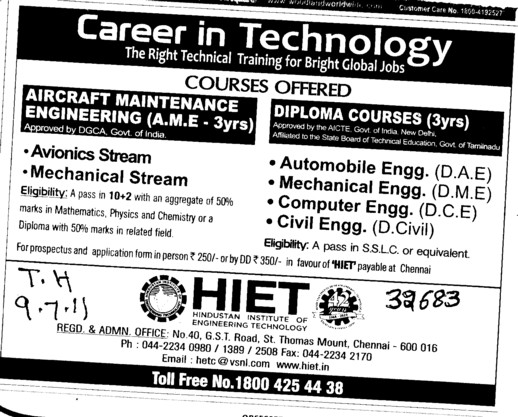 Aircraft Maintenance Engineering and Diploma Courses (Hindustan Institute of Engineering Technology (HIET))