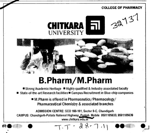 B Pharm and M Pharm Courses (Chitkara University)