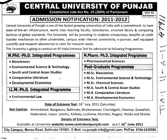 PhD M Phill and Post Graduate Programmes (Central University of Punjab)
